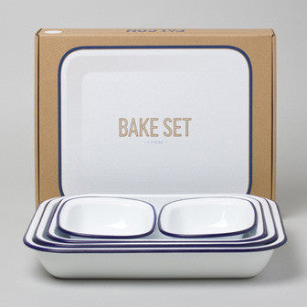 FALCON Bake Set - White with Blue rim (accept pre-order)