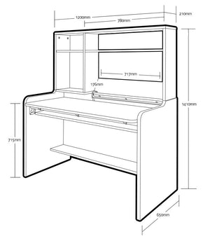 COMME Working Desk with Top Shelf (accept pre-order)