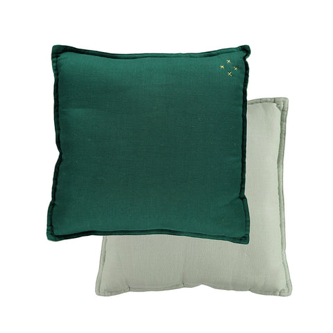 Two Tone Square Cushion - Forest/ Mint