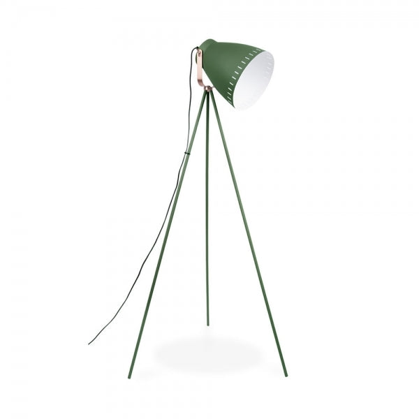 Floor Lamp Mingle 3 Legs Metal Green, copper accent