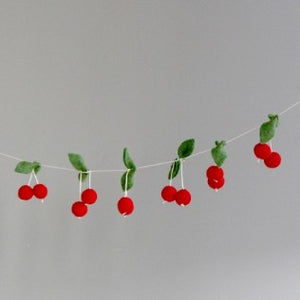 Feltball Garland - Red Cherry