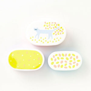 IROHA Cute Japanese Cat Oval Food Storage Box (set of 3)