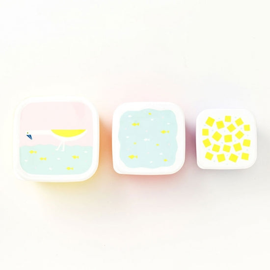 IROHA Cute Japanese Bird Square Food Storage Box (set of 3)