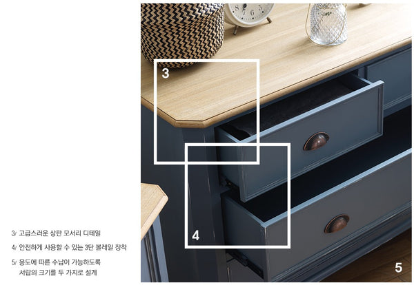 MY SIGNATURE PARISIENNE 4 Drawers Console with Standing Mirror Blue (accept pre-order)