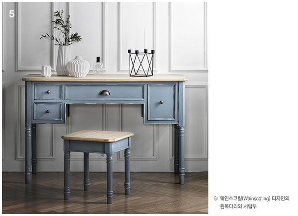 MY SIGNATURE PARISIENNE Console Desk with Standing Mirror & Stool Set Blue (accept pre-order)