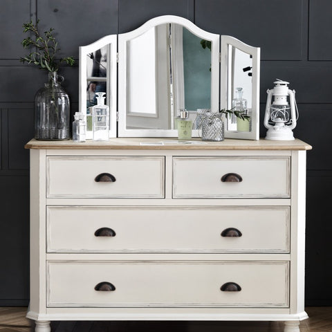 MY SIGNATURE PARISIENNE 4 Drawers Console with Standing Mirror Cream (accept pre-order)