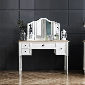 MY SIGNATURE PARISIENNE Console Desk with Standing Mirror Set Cream (accept pre-order)