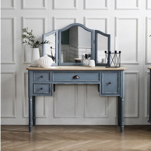 MY SIGNATURE PARISIENNE Console Desk with Standing Mirror Set Blue (accept pre-order)