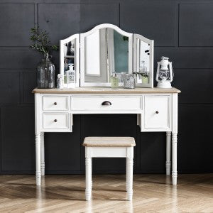 MY SIGNATURE PARISIENNE Console Desk with Standing Mirror & Stool Set Cream (accept pre-order)