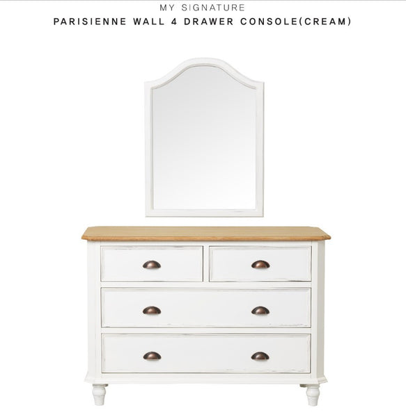 MY SIGNATURE PARISIENNE 4 Drawers Cabinet with Wall Mirror Cream (accept pre-order)