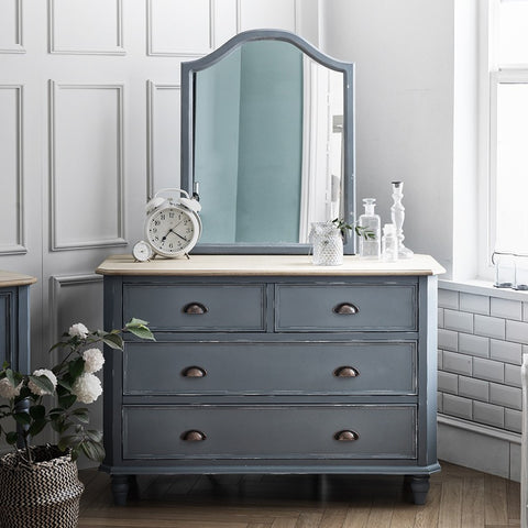 MY SIGNATURE PARISIENNE 4 Drawers Console with Wall Mirror Blue (accept pre-order)