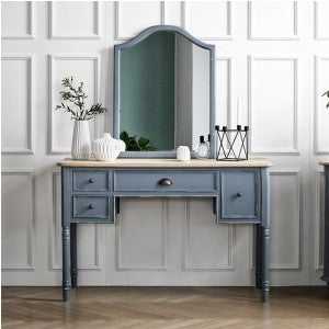 MY SIGNATURE PARISIENNE Console Desk with Wall Mirror Set Blue (accept pre-order)