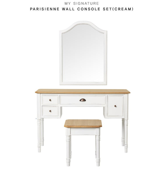 MY SIGNATURE PARISIENNE Console Desk with Wall Mirror & Stool Set Cream (accept pre-order)