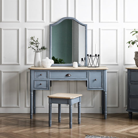 MY SIGNATURE PARISIENNE Console Desk with Wall Mirror & Stool Set Blue (accept pre-order)