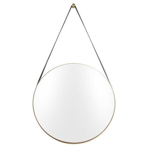 Hanging Mirror with Black Strap - Gold