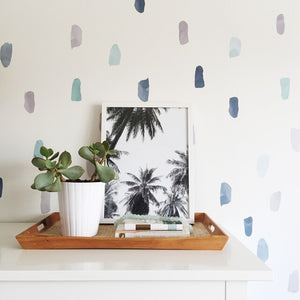 Easy Wall Sticker - Water Colour Paint Strokes Blue (accept pre-order)