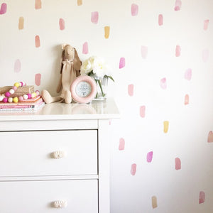 Easy Wall Sticker - Water Colour Paint Strokes Soft Pink (accept pre-order)