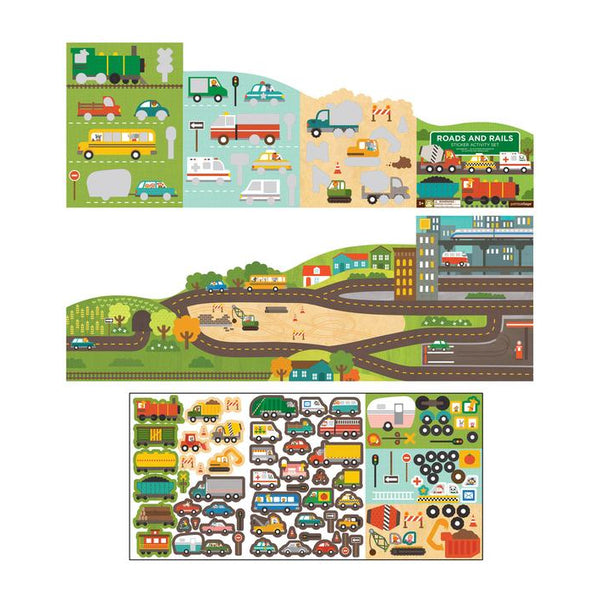 Petit Collage Sticker Activity Set - Roads & Rails