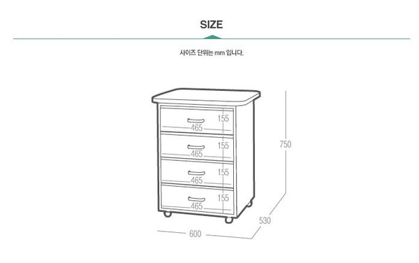 IN POP Cabinet with 4 Drawers Mint