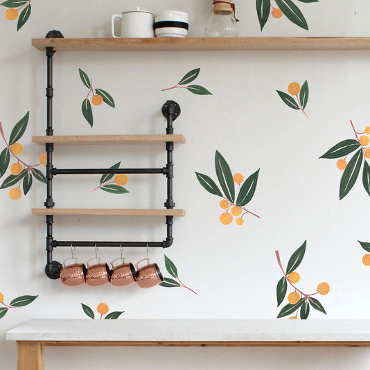 Easy Wall Sticker - Tangerines in Greens (accept pre-order)