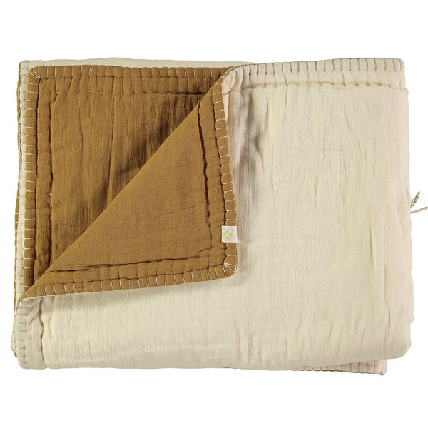 Cotton Filled Reversible Quilt - Ochre/ Champagne
