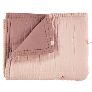 Cotton Filled Reversible Quilt - Blush/ Pearl Pink