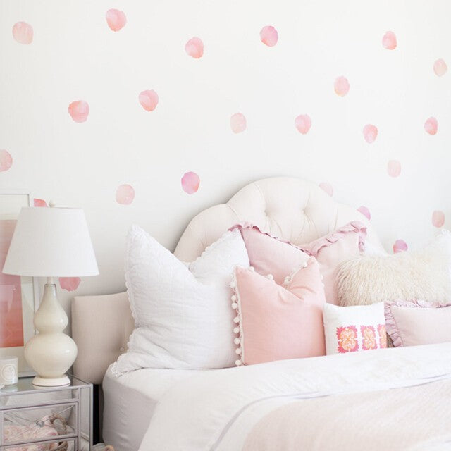 Easy Wall Sticker - Water Colour Polka Dots Coral (accept pre-order)