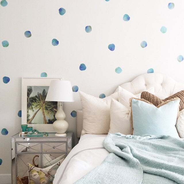 Easy Wall Sticker - Water Colour Polka Dots Teals (accept pre-order)