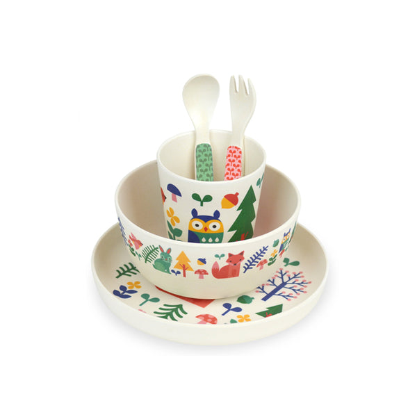 Petit Collage Bamboo Mealtime Set - Forest
