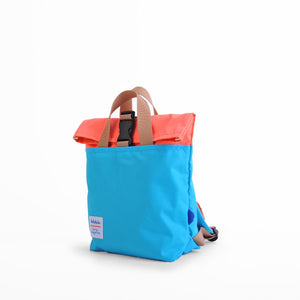Jazper - Roll-top Backpack - Neon Orange/ Light Blue