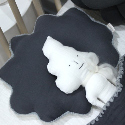 Hairstyle Newborn Pillow - Charcoal