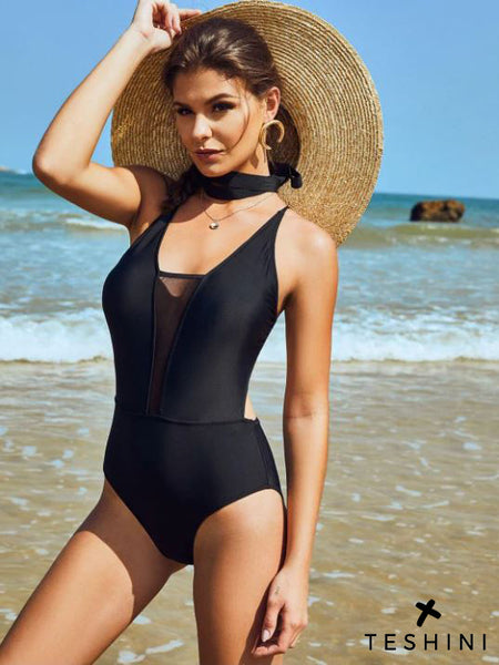 Black Crisscross Mesh Panel Monokini Swimsuit