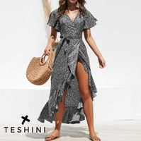 Black Long Dress Floral Print Casual V Neck