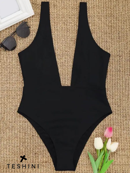 Black High Cut Plunge Neck Swimsuit