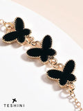 Black Triple Charm Butterfly Chain Bracelets