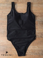 Black Zipper Front Backless Swimsuit