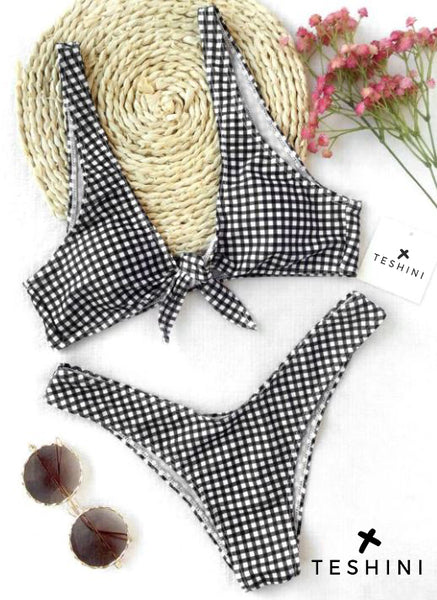 Black & White Front Tie Thong Plaid Bikini Set