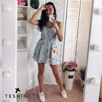 Blue New Women's Dress Sweet Summer Casual Fashion Bohemian Print Thin Strap Sleeveless Black Dress for Women