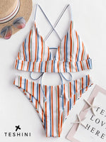 Multi Striped Crisscross Bralette Bikini Set