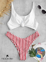 Knotted Top Colored Striped Bikini Set