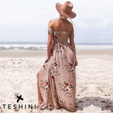 Brown Split Maxi Floral Backless Dress