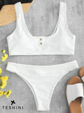 White Embellished Ribbed Button Bikini Set