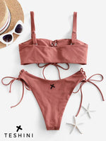 Chestnut Lace Up High Leg Tank Bikini Swimsuit