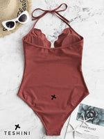 Chestnut Scalloped Halter One-piece Swimsuit