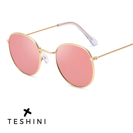 Classic Small Frame Round Sunglasses Alloy Mirror Sun Glasses  - Teshini