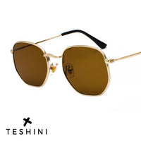 Gold Brown Metal Frame Luxury Sunglasses