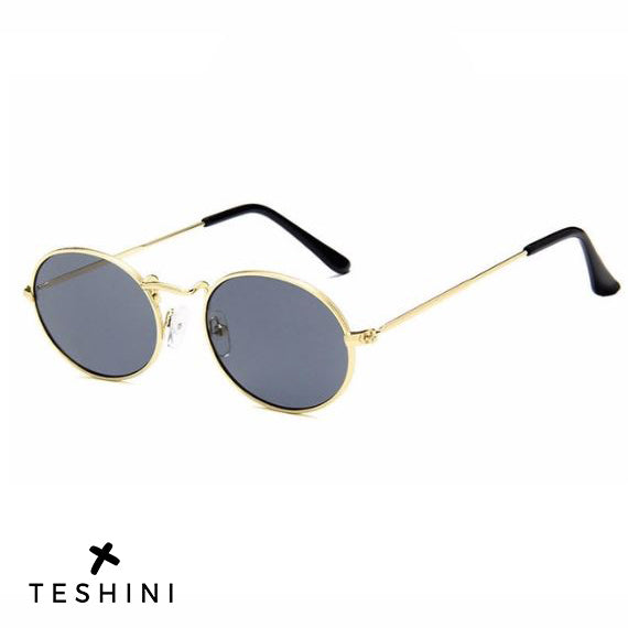 Gray Gold Retro Metal Oval Sunglasses Vintage Shades