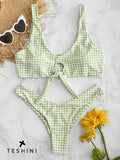Checkered Green Knotted High Leg Bikini Set