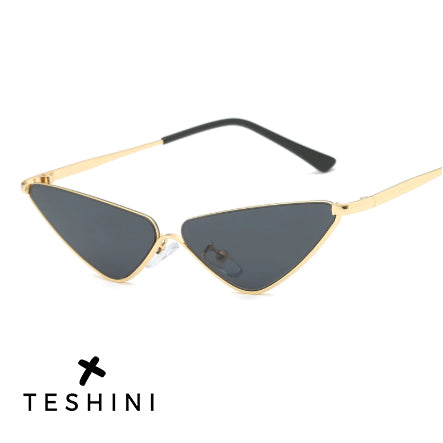 Half Frame Shade Triangle Eyeglasses Vintage Cateye Sun Glasses - Teshini