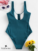 Zipper Up Front One-piece Swimsuit